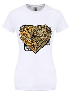 Steampunk Heart White Women's T-shirt