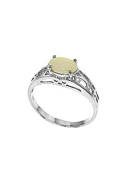 QP Jewellers 0.45ct Opal Catalan Filigree Ring in 14K White Gold