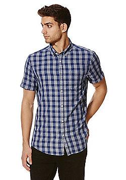 F&F Checked Indigo Yarn Short Sleeve Shirt - Blue