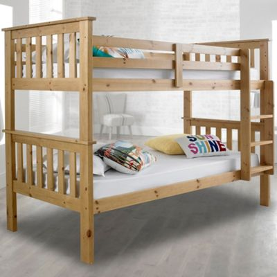 Happy Beds Atlantis Solid Pine Wooden Bunk Bed 2 Spring Mattresses 3ft Single