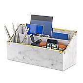 Design Ideas Desk Organisor Marbella style in Marble Finish with Brass
