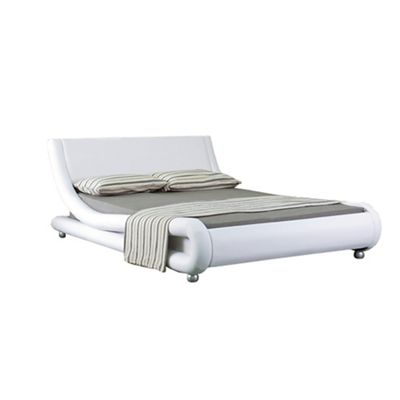 Comfy Living 5ft King Curved Faux Leather Bed Frame in White with Damask Sprung Mattress