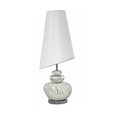 Silver and White Mosaic Pebble Lamp With Pure White Slanted Shade