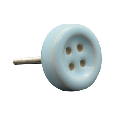 Ceramic Door Cabinet Wardrobe Knob Handle Set - Button - Blue x1