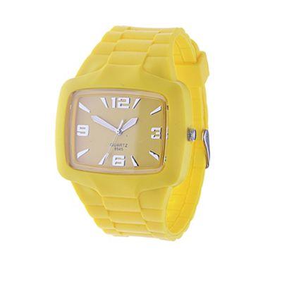 Urban Male Men's Yellow Rubber Wrist Watch Quartz Movement in yellow