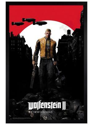 Wolfenstein 2 Black Wooden Framed Poster 61 x 91.5cm