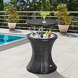 Outsunny Rattan Ice Bucket Cooler Table Beer Outdoor