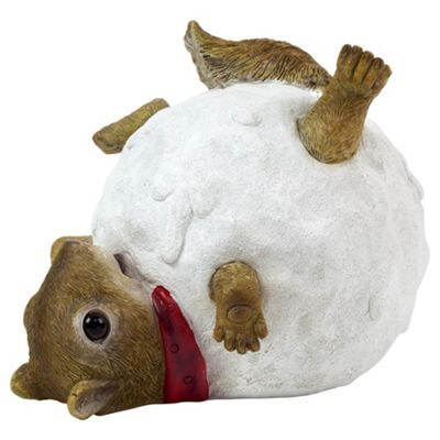 Robert the Fun Squirrel in a Snowball Christmas Garden Ornament