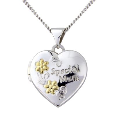 Silver and 9ct Gold Heart Shaped Locket Pendant with Chain Message -