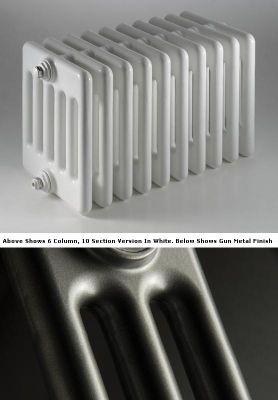 DQ Heating Peta 3 Column Designer Radiator - 742mm High x 450mm Wide - 10 Sections - Gun Metal