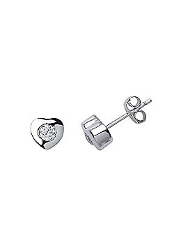 Rhodium Plated Sterling Silver Round Brilliant Cubic Zirconia Solitaire Heart Stud Earrings