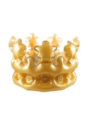 Adult Inflatable Gold King/Queen Crown Fancy Dress Accessory 33.5cm
