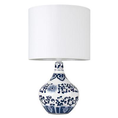 MiniSun Traditional Chinese Chrysanthemum LED Ceramic Table Lamp - White Shade