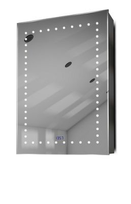 Clock Cabinet With LED Under Lighting, Demister, Sensor & Shaver Socket k389w