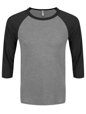 Heather Grey & Dark Heather 3/4 Sleeve Baseball Grey Men's T-shirt