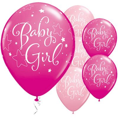 Baby Girl Stars 11 inch Latex Balloons - 25 Pack