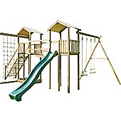 Action Monmouth Double Wooden Climbing Frame with Swings, Slide and Climbing Net