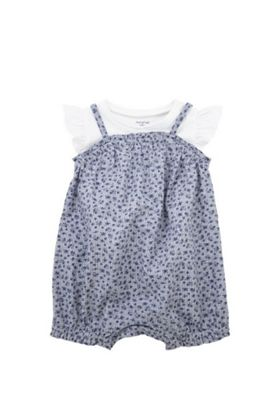 F&F T-Shirt and Woven Romper Set Blue/White 9-12 months