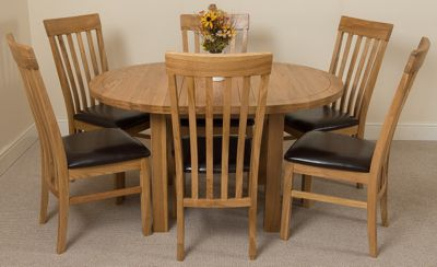 Edmonton Extending Oval Solid Oak Dining Table with 6 Solid Oak Leather Chairs