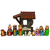 11pc Mini Polyresin Nativity Crib Scene Christmas Ornament Set