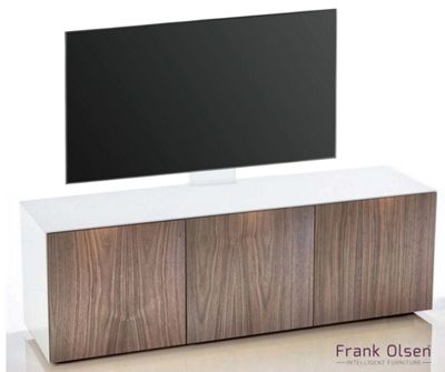 Frank Olsen INTEL1500 White and Walnut Cantilever TV Cabinet For TVs Up To 60 inch