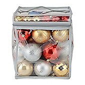 Christow 63 Luxury Christmas Baubles In PVC Bag - Gold, Silver & Red