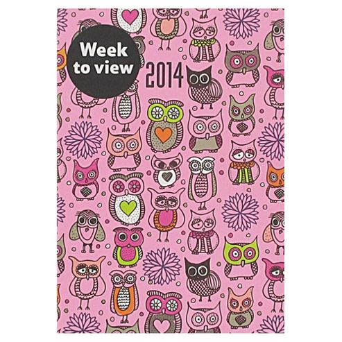 Owls Casebound 2014 Diary A6 Week to View