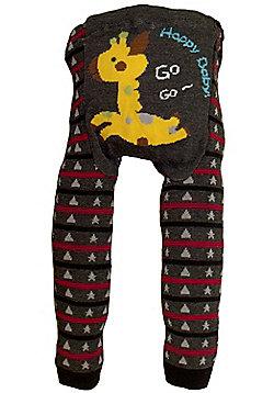 Dotty Fish Knitted Baby Leggings - Jumping Giraffe - Grey