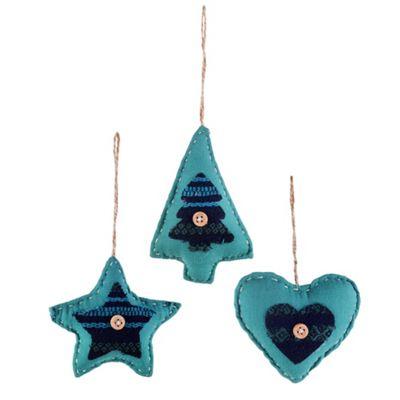 Set of Three Shaped Blue Fabric Christmas Tree Decorations