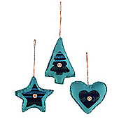 Set of Three Shaped Blue Fabric Christmas Tree Decorations
