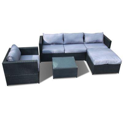 Bermuda Outdoor Black Rattan Corner Sofa Set With Table Armchair