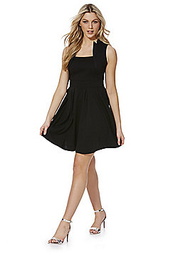 Feverfish Pleated Fit and Flare Dress - Black
