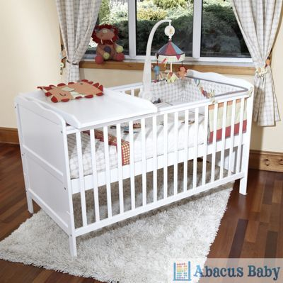 Isabella Cot Bed/Jnr Bed-Foam Safety Mattress-Cot Top Changer & Drawer - White