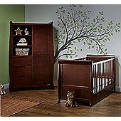 Obaby Stamford 2 Piece Cot Bed/Wardrobe Nursery Room Set - Walnut