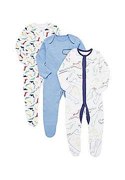 F&F 3 Pack of Dinosaur Sleepsuits - Multi