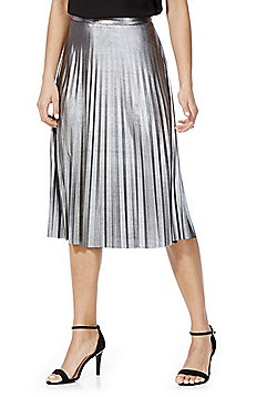 Only Metallic Pleated Midi Skirt - Silver