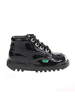 Kickers Kick Hi Patent Infant Toddler Kids School Shoe Boot Black - Black