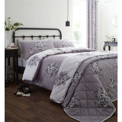 Catherine Lansfield Floral Bouquet Grey Bedspread - 220x230cm