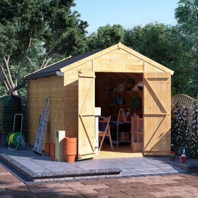 12x8 Tongue and Groove Wooden Workshop Garden Shed Double Door Windowless Apex Premium Roof Floor Felt - 12ftx8ft