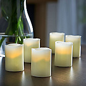 VonHaus Blow Out LED Flameless Tea Light Candle Set of 6 - Real Wax - Battery Operated
