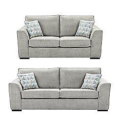 Boston 25 Seater 3 Sofa Set Light Grey