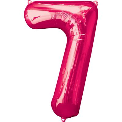 Pink Number 7 Balloon - 34 inch Foil