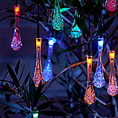 Set of 20 Crystal Ice Drop LED Solar String Lights - Multi Colour