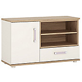 4KIDS 1 door 1 drawer TV/HI FI cabinet in light oak and white high gloss with lilac handles