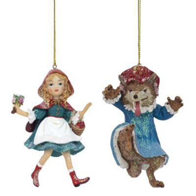 Red Riding Hood & Wolf Set of Fairytale Christmas Tree Bauble Ornament Decorations