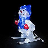 Acrylic Snowman On Ski Christmas Decoration - 40cm - Ice White LED's