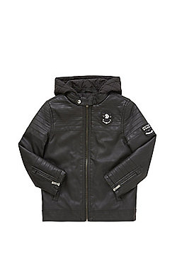 F&F Faux Leather Quilted Biker Jacket - Black