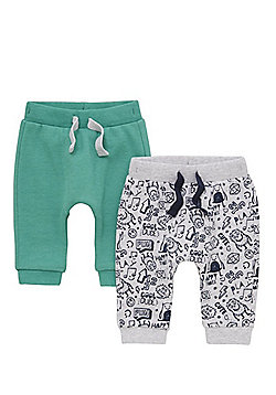 F&F 2 Pack of Printed and Plain Harem Joggers - Multi