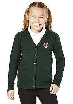 Girls Embroidered School Cotton Cardigan with As New Technology - Green