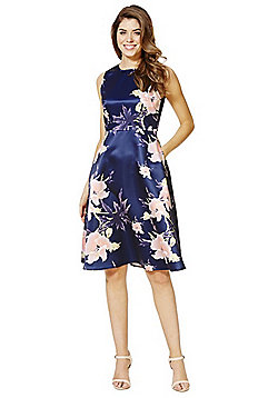 AX Paris Floral Satin Fit and Flare Dress - Navy